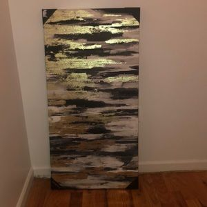 black, white and gold painting for home decor